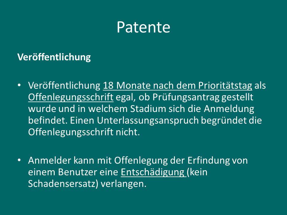 Patente Veröffentlichung