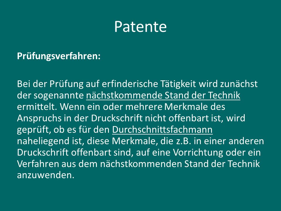 Patente Prüfungsverfahren: