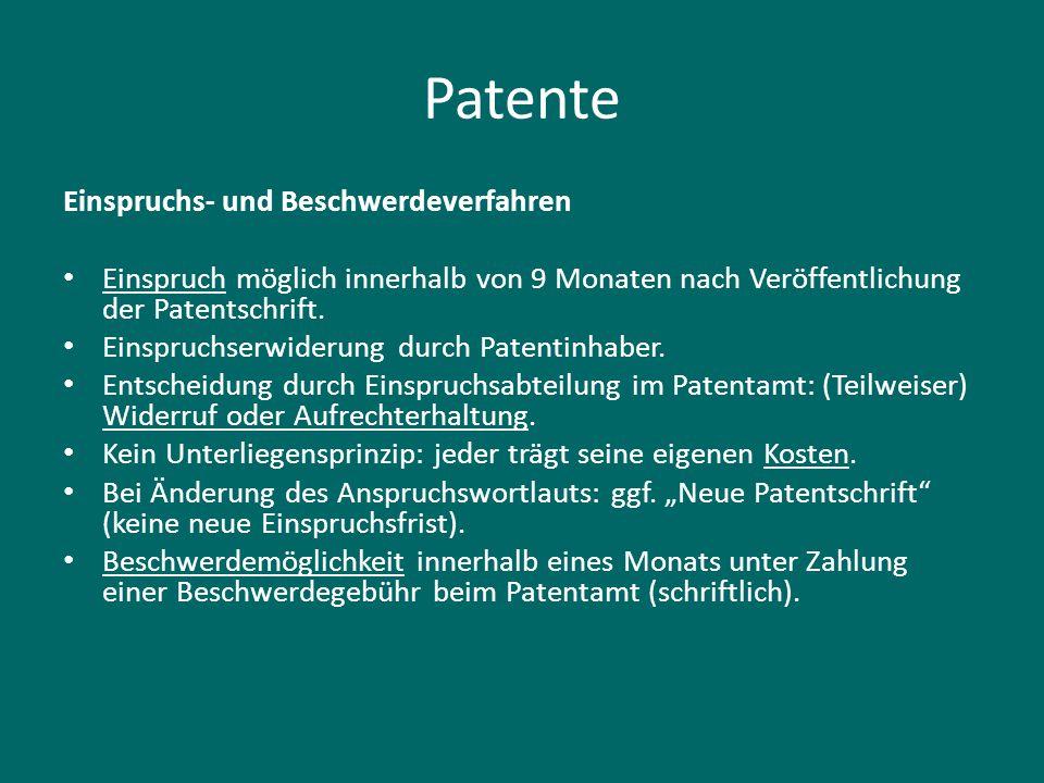 Patente Einspruchs- und Beschwerdeverfahren