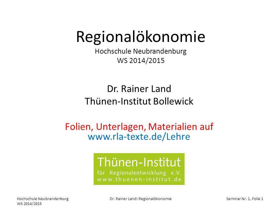 Regionalökonomie Hochschule Neubrandenburg WS 2014/2015