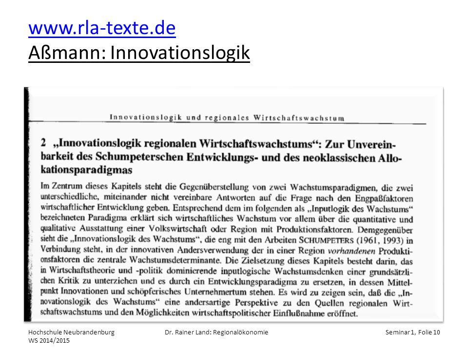 www.rla-texte.de Aßmann: Innovationslogik