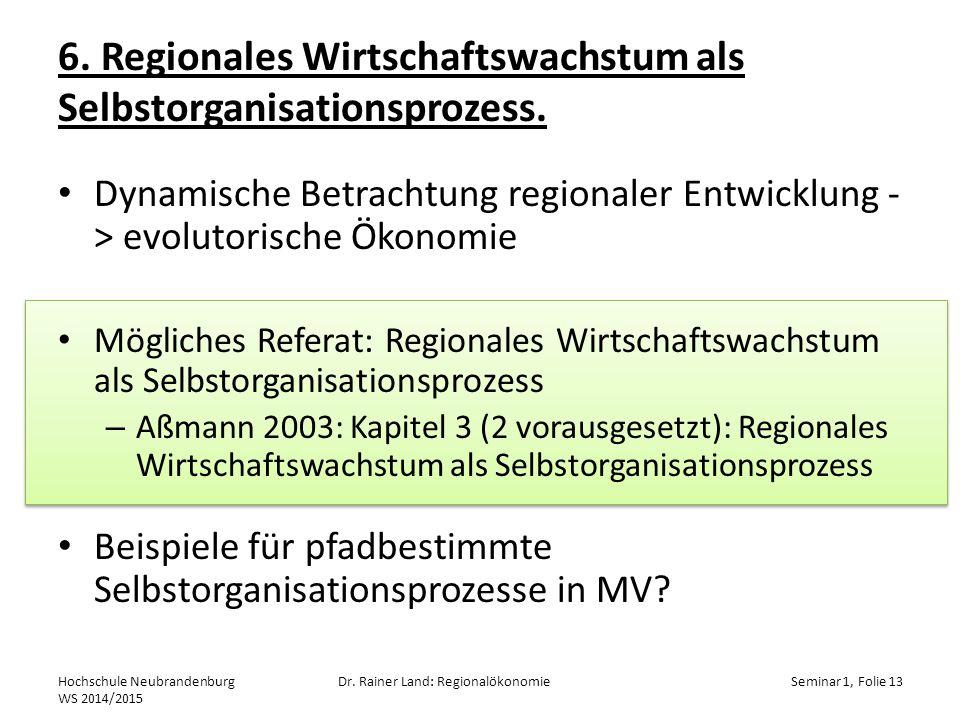 6. Regionales Wirtschaftswachstum als Selbstorganisationsprozess.