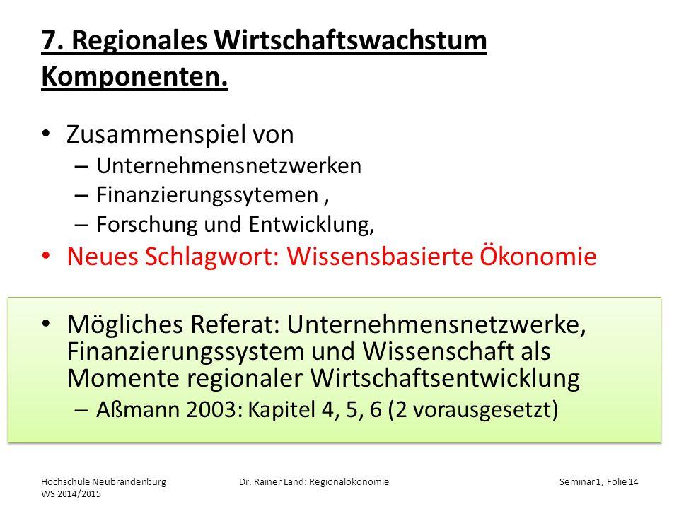 7. Regionales Wirtschaftswachstum Komponenten.
