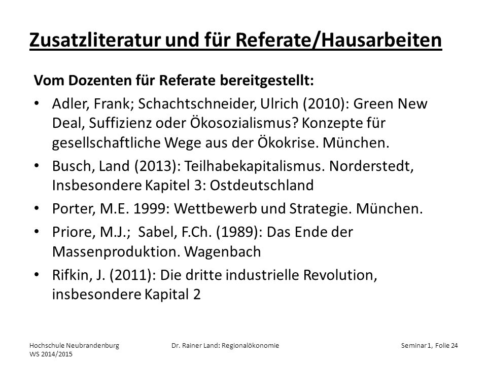 Zusatzliteratur und für Referate/Hausarbeiten