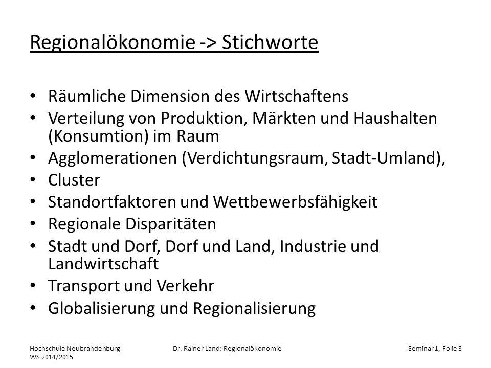 Regionalökonomie -> Stichworte