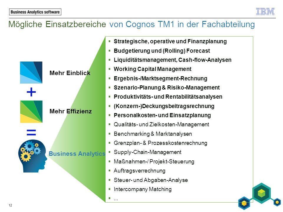 Mögliche Einsatzbereiche von Cognos TM1 in der Fachabteilung