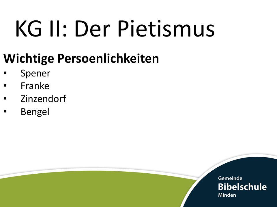 KG II: Der Pietismus Wichtige Persoenlichkeiten Spener Franke
