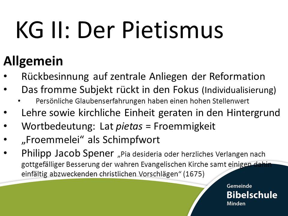 KG II: Der Pietismus Allgemein