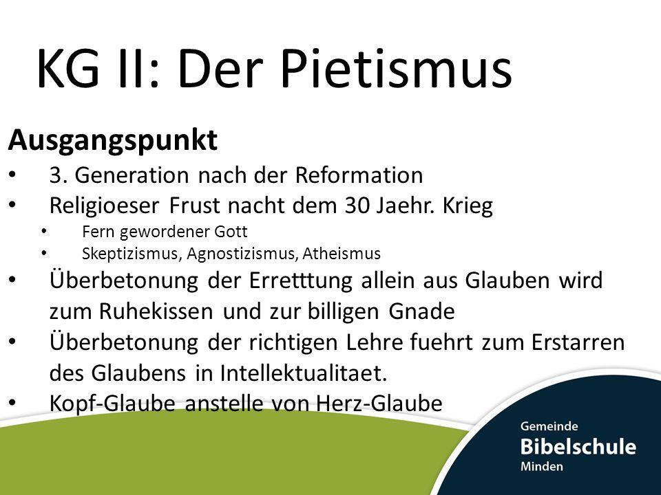 KG II: Der Pietismus Ausgangspunkt 3. Generation nach der Reformation