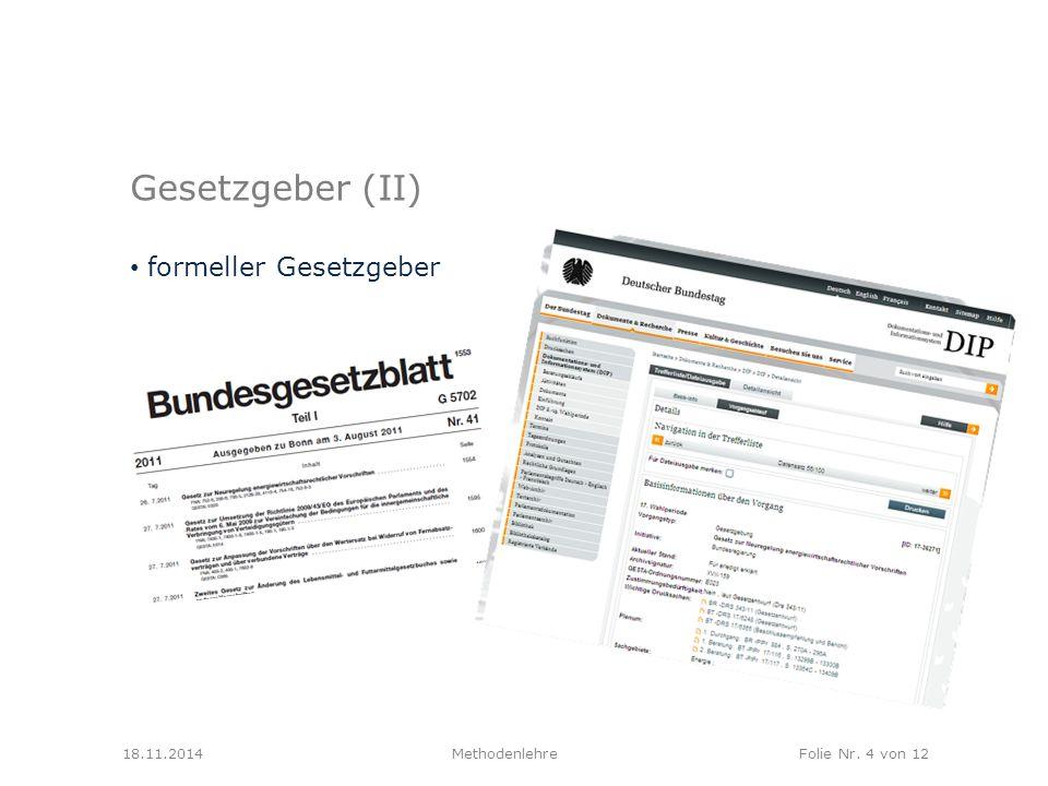 Gesetzgeber (II) formeller Gesetzgeber 18.11.2014