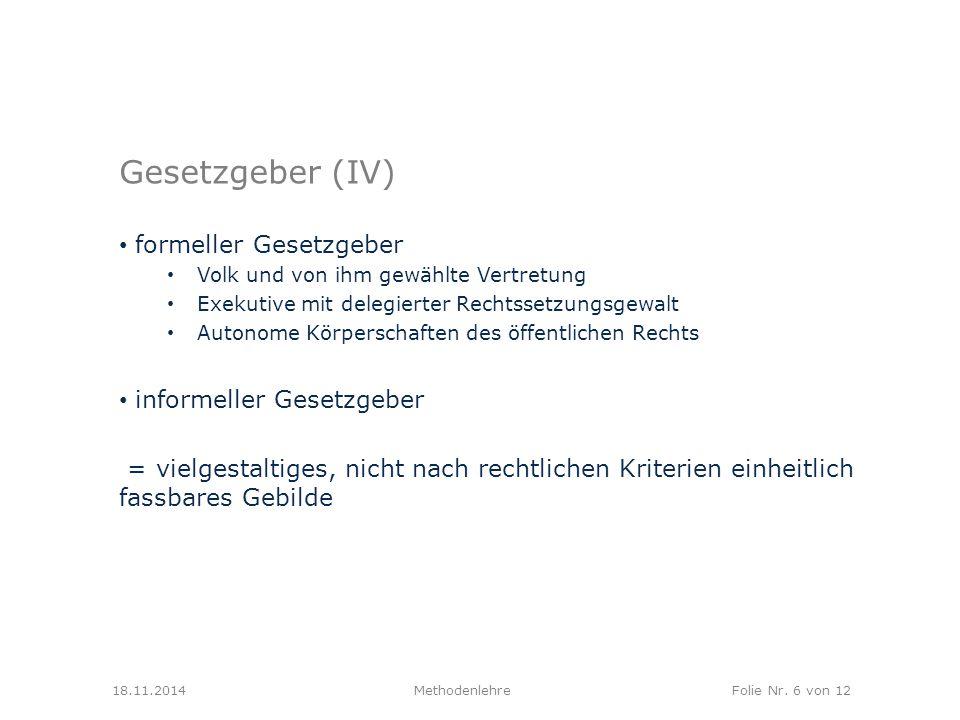 Gesetzgeber (IV) formeller Gesetzgeber informeller Gesetzgeber