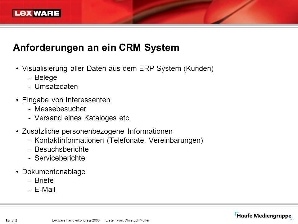 Anforderungen an ein CRM System