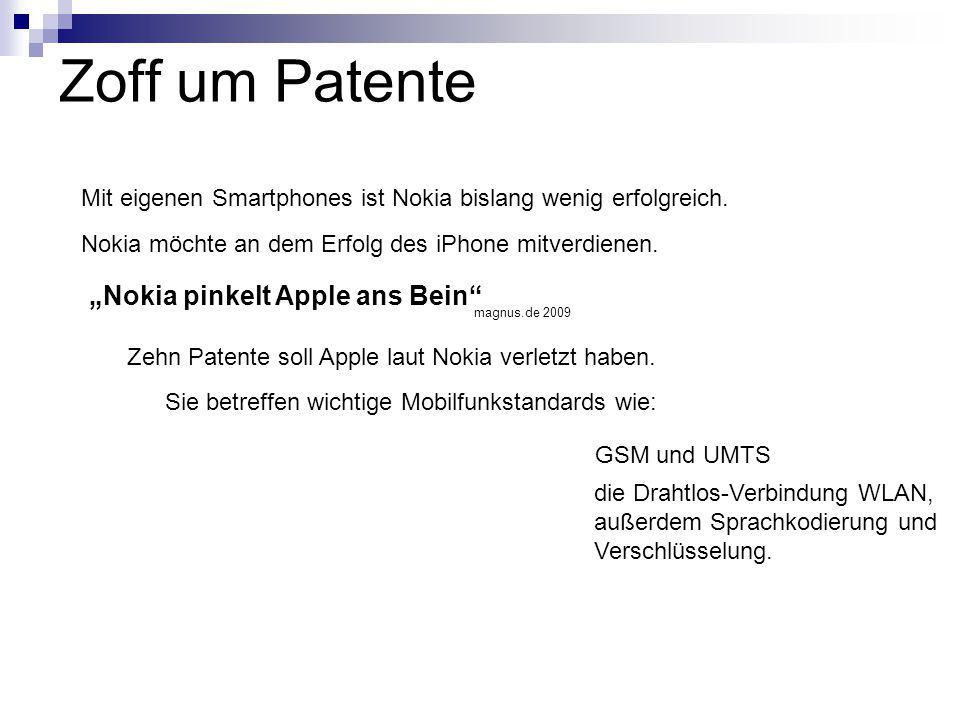 """Zoff um Patente """"Nokia pinkelt Apple ans Bein"""