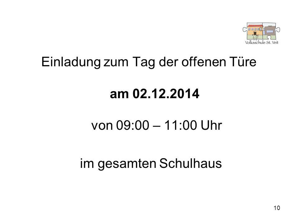 Einladung zum Tag der offenen Türe am 02.12.2014 von 09:00 – 11:00 Uhr