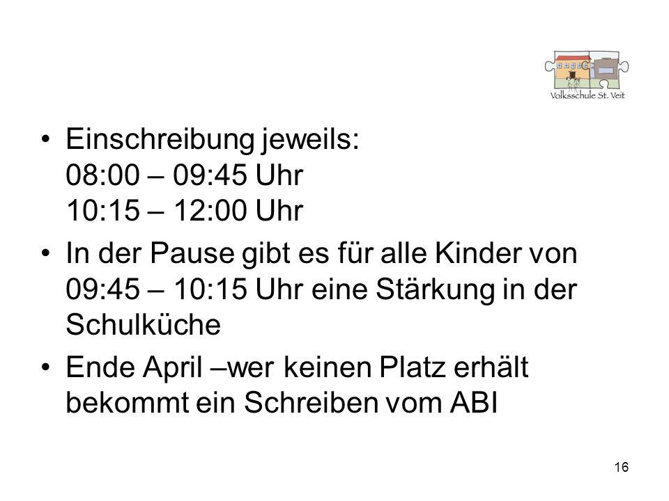 Einschreibung jeweils: 08:00 – 09:45 Uhr 10:15 – 12:00 Uhr