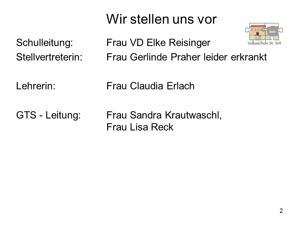 Wir stellen uns vor Schulleitung: Frau VD Elke Reisinger