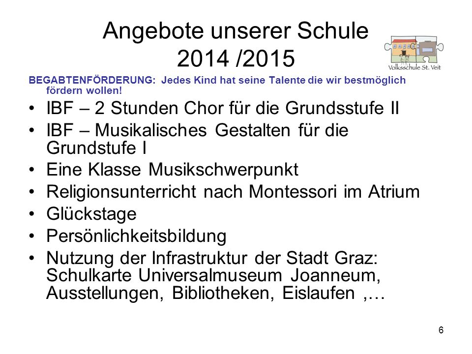 Angebote unserer Schule 2014 /2015