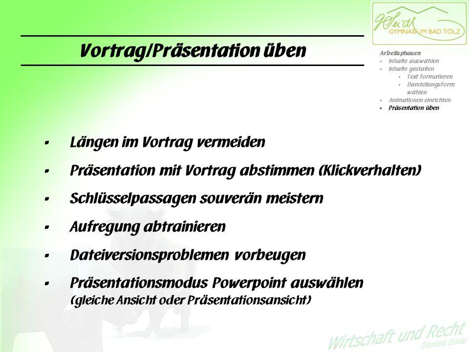 Vortrag/Präsentation üben