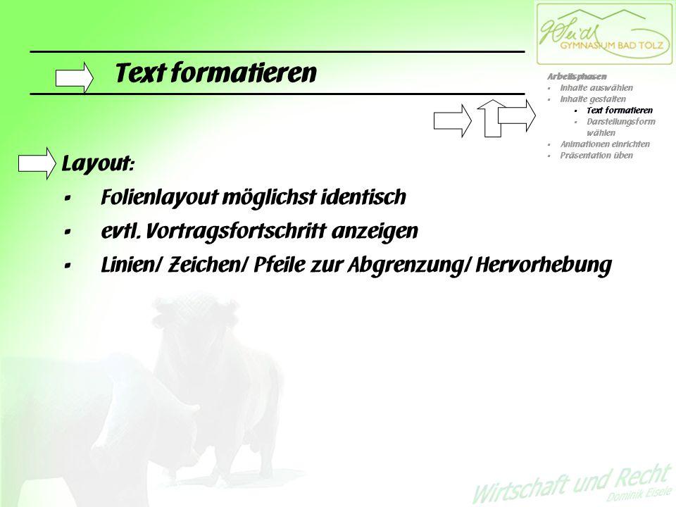 Text formatieren Layout: Folienlayout möglichst identisch