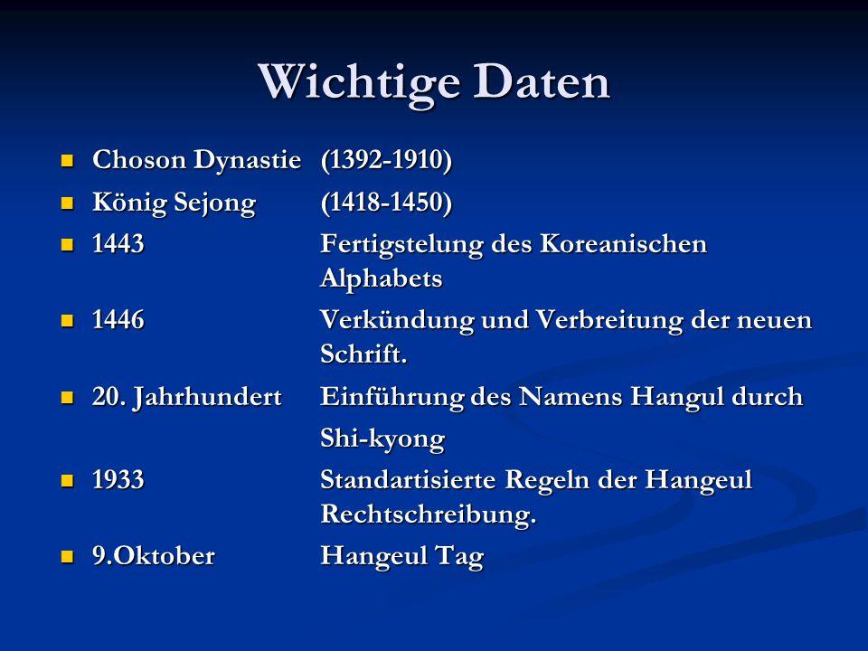 Wichtige Daten Choson Dynastie (1392-1910) König Sejong (1418-1450)