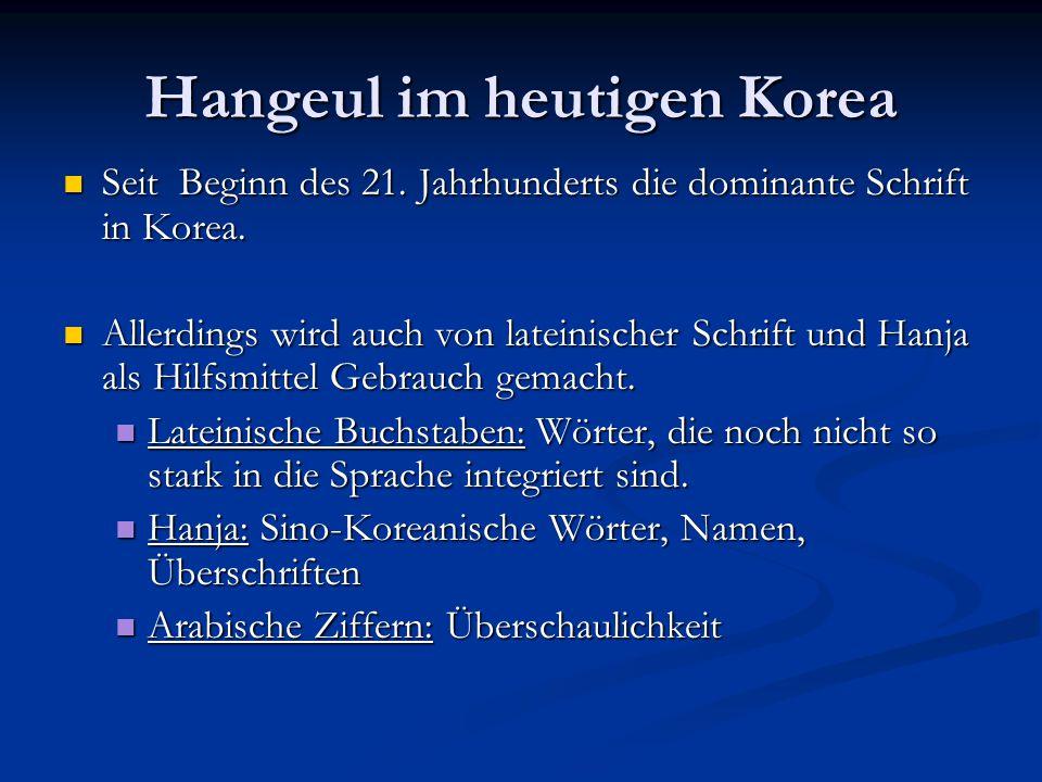 Hangeul im heutigen Korea