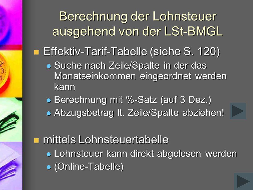 Berechnung der Lohnsteuer ausgehend von der LSt-BMGL