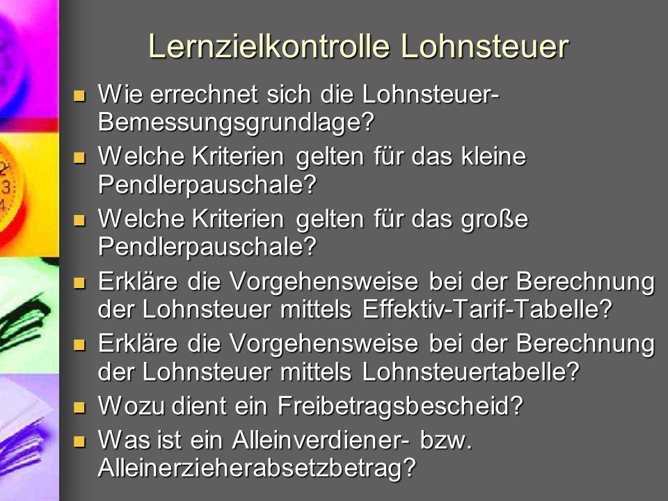 Lernzielkontrolle Lohnsteuer