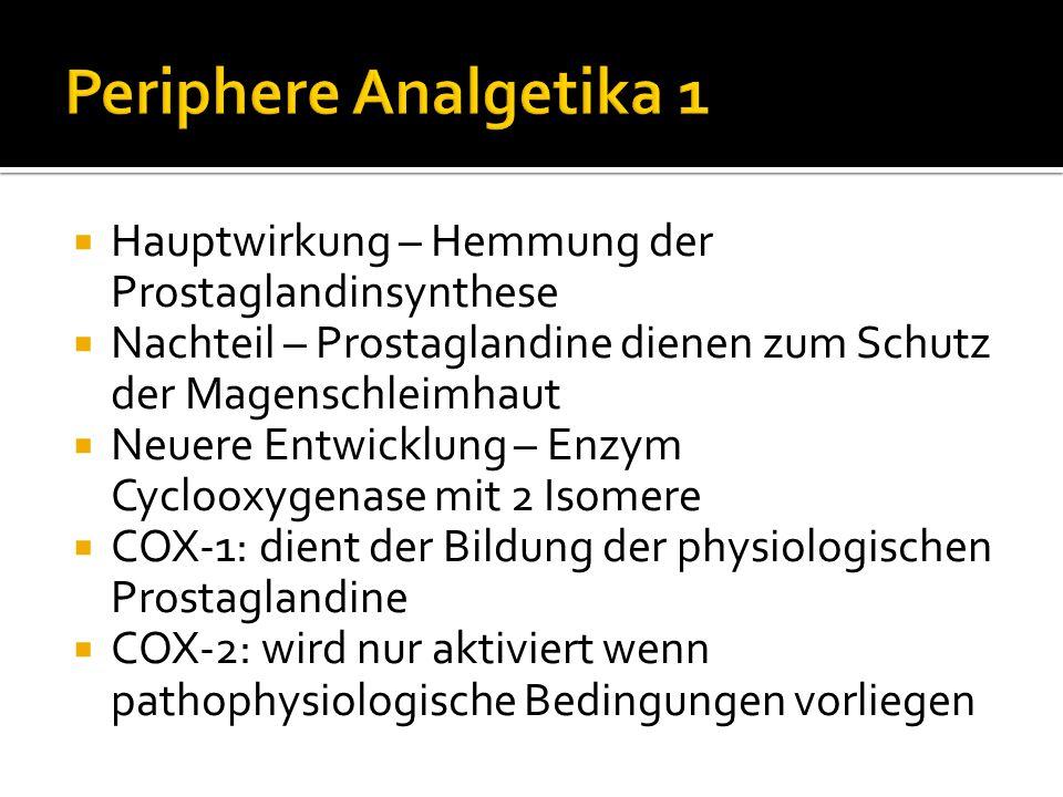 Periphere Analgetika 1 Hauptwirkung – Hemmung der Prostaglandinsynthese. Nachteil – Prostaglandine dienen zum Schutz der Magenschleimhaut.