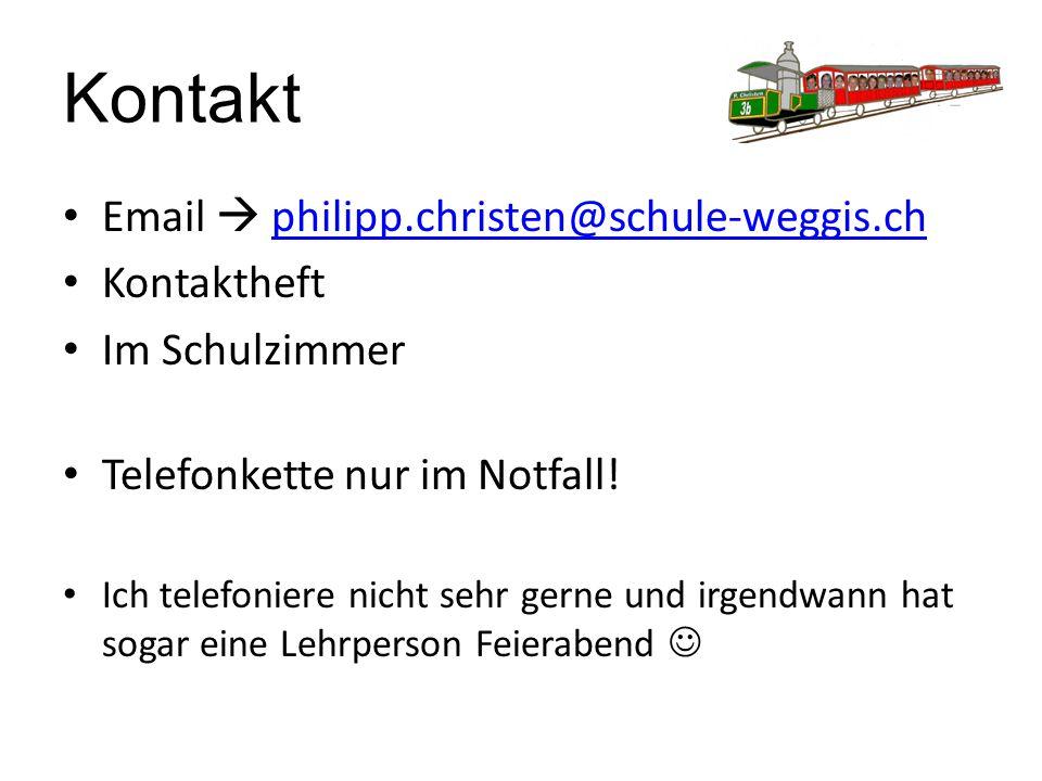 Kontakt Email  philipp.christen@schule-weggis.ch Kontaktheft
