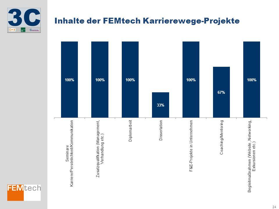 Inhalte der FEMtech Karrierewege-Projekte