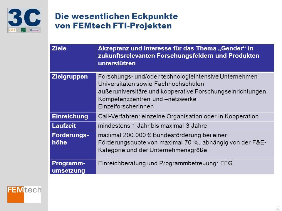 Die wesentlichen Eckpunkte von FEMtech FTI-Projekten