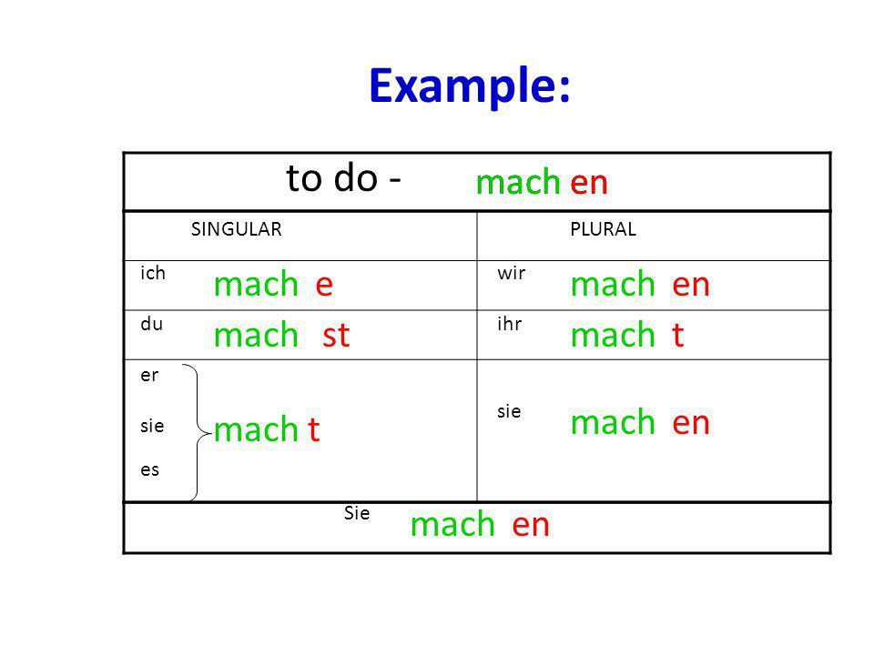 Example: to do - mach mach en en mach e mach en mach st mach t mach en