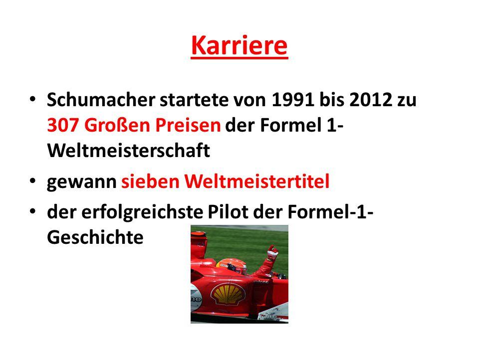 Karriere Schumacher startete von 1991 bis 2012 zu 307 Großen Preisen der Formel 1-Weltmeisterschaft.