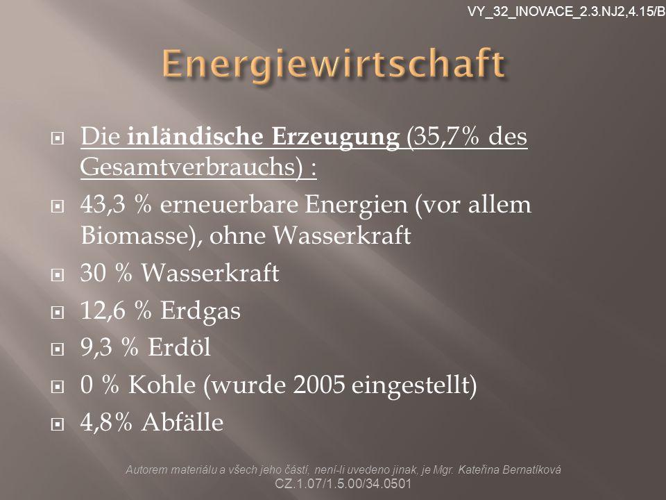 VY_32_INOVACE_2.3.NJ2,4.15/Br Energiewirtschaft. Die inländische Erzeugung (35,7% des Gesamtverbrauchs) :