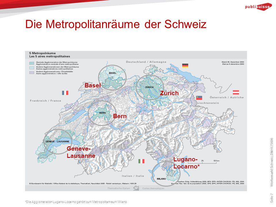 Die Metropolitanräume der Schweiz