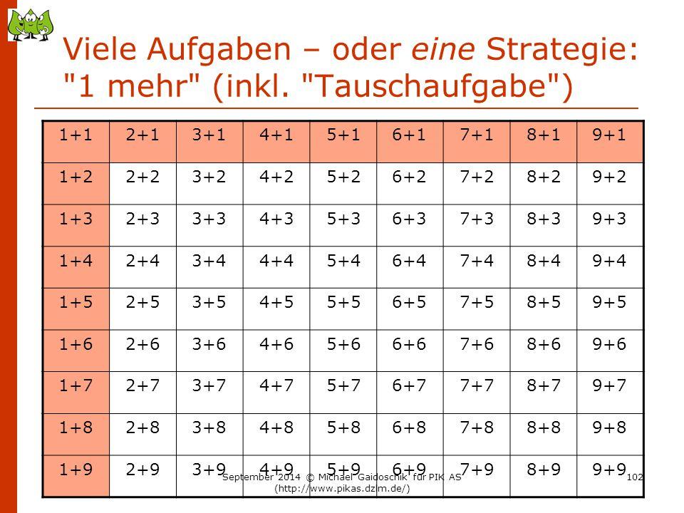 Viele Aufgaben – oder eine Strategie: 1 mehr (inkl. Tauschaufgabe )