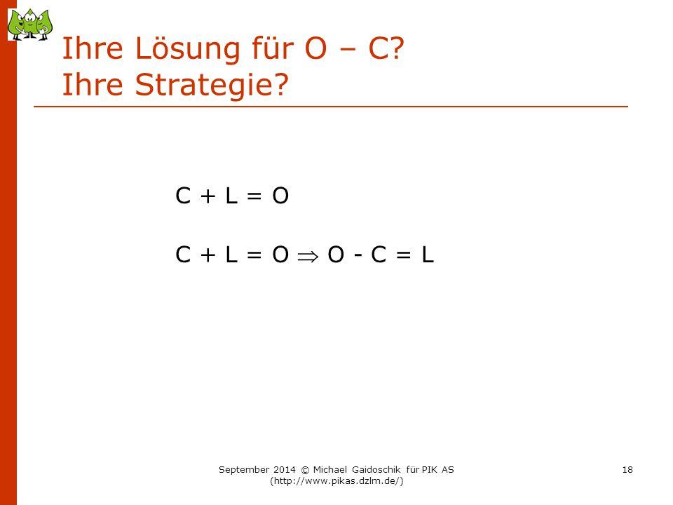 Ihre Lösung für O – C Ihre Strategie