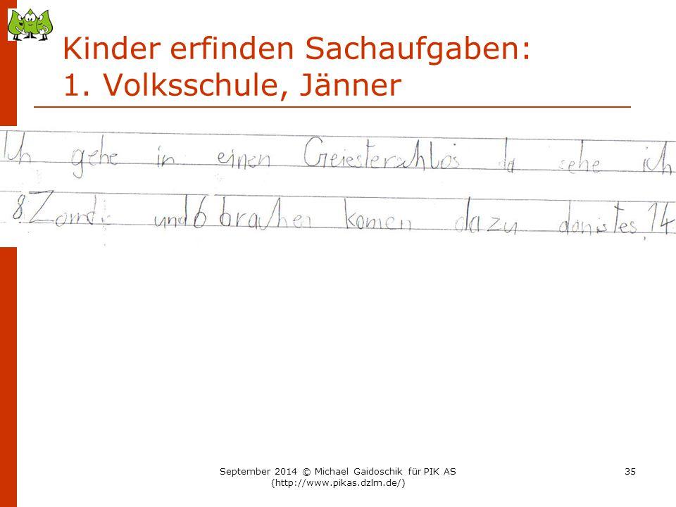 Kinder erfinden Sachaufgaben: 1. Volksschule, Jänner