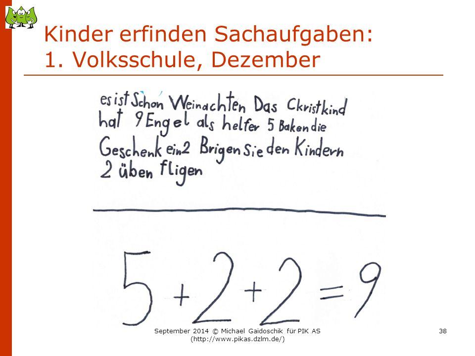Kinder erfinden Sachaufgaben: 1. Volksschule, Dezember