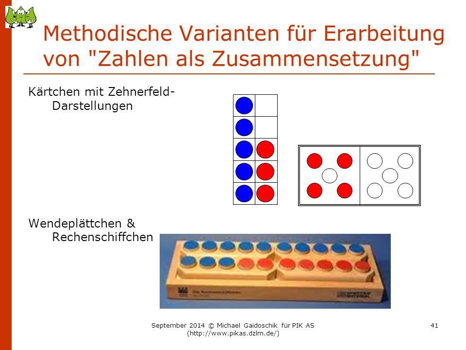Methodische Varianten für Erarbeitung von Zahlen als Zusammensetzung