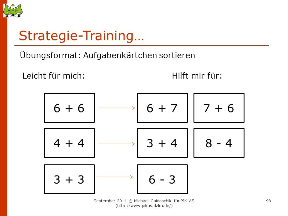 Strategie-Training… 6 + 6 6 + 7 7 + 6 4 + 4 3 + 4 8 - 4 3 + 3 6 - 3