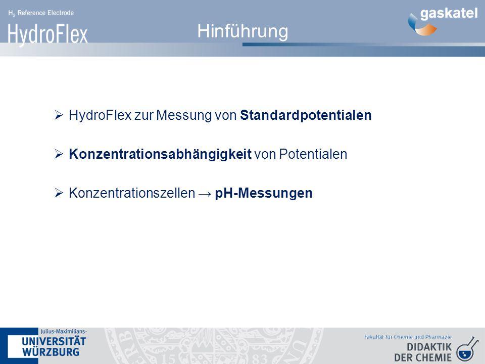Hinführung HydroFlex zur Messung von Standardpotentialen