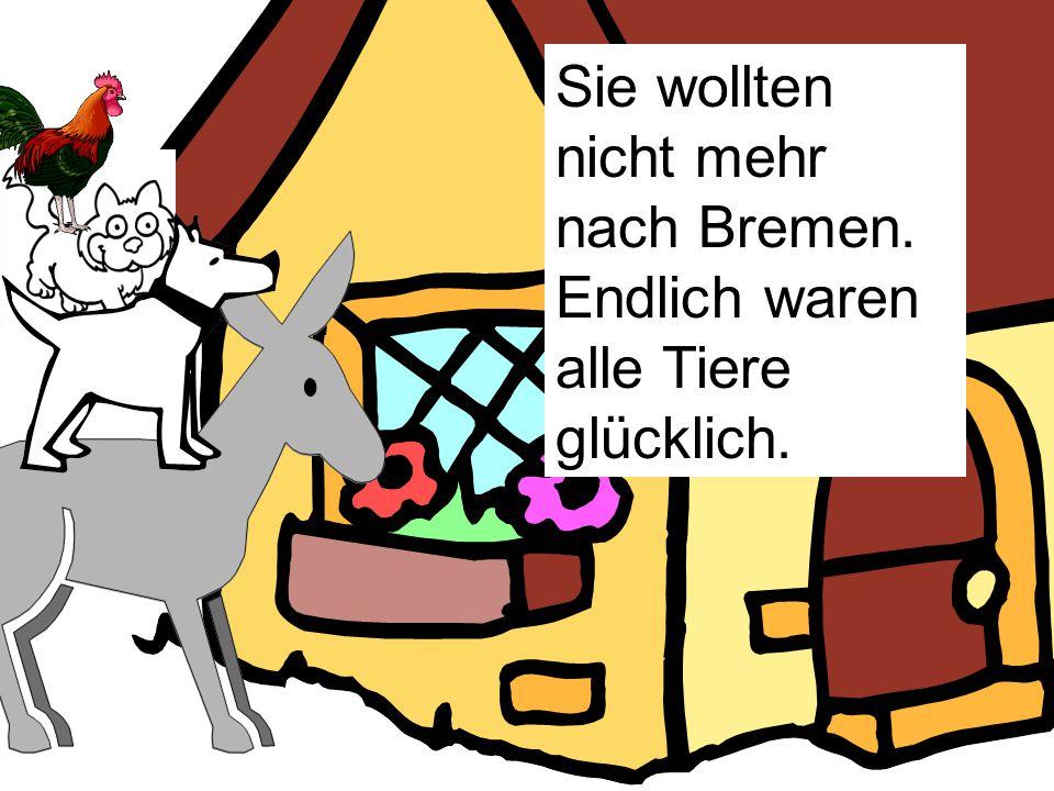 Sie wollten nicht mehr nach Bremen. Endlich waren alle Tiere glücklich.