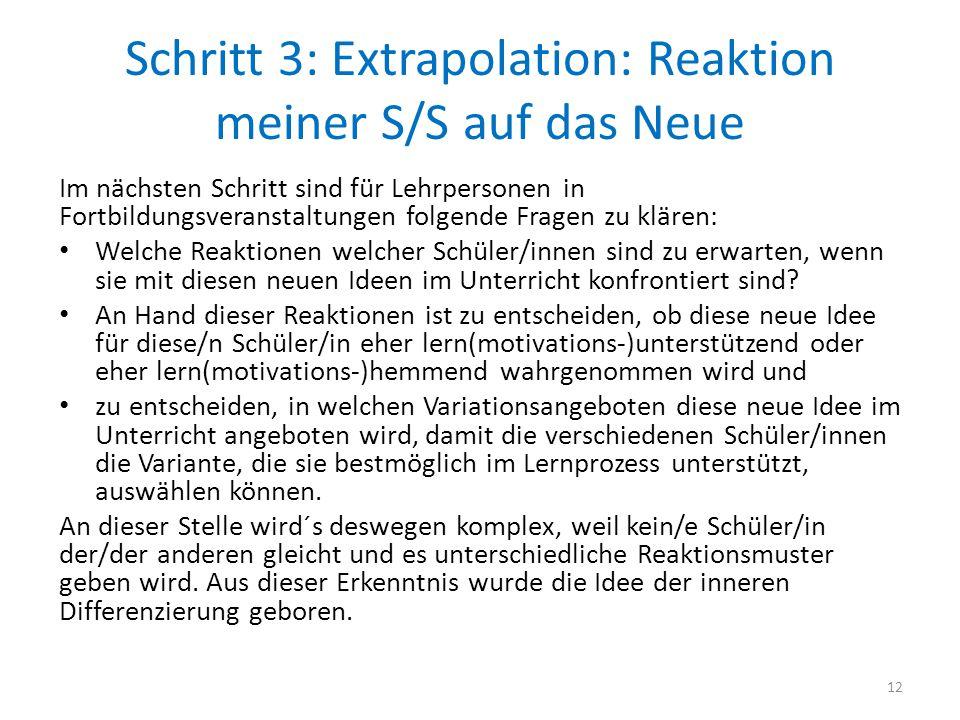 Schritt 3: Extrapolation: Reaktion meiner S/S auf das Neue