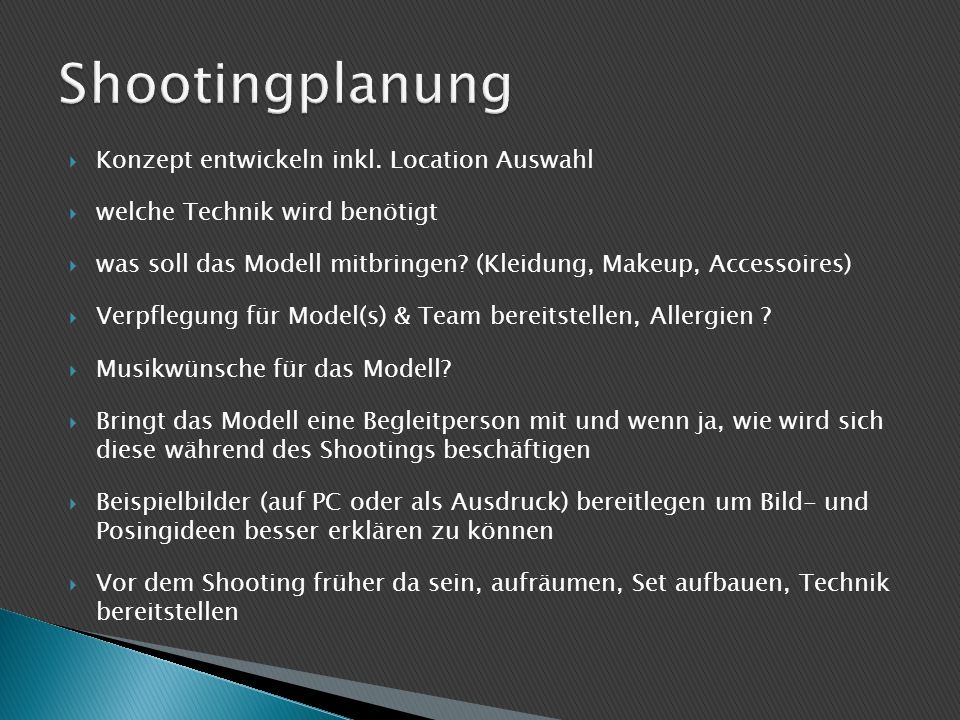 Shootingplanung Konzept entwickeln inkl. Location Auswahl