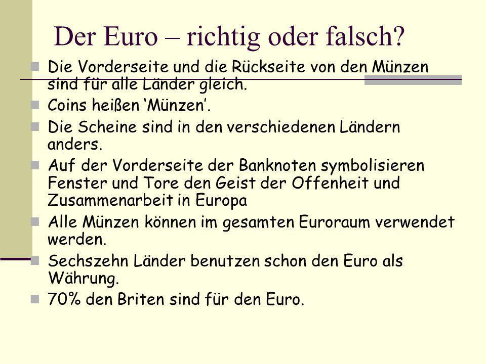 Der Euro – richtig oder falsch