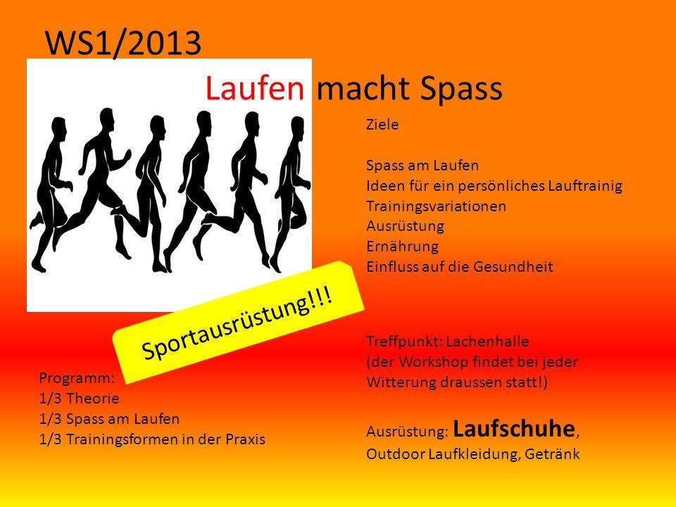 WS1/2013 Laufen macht Spass Sportausrüstung!!! Ziele Spass am Laufen