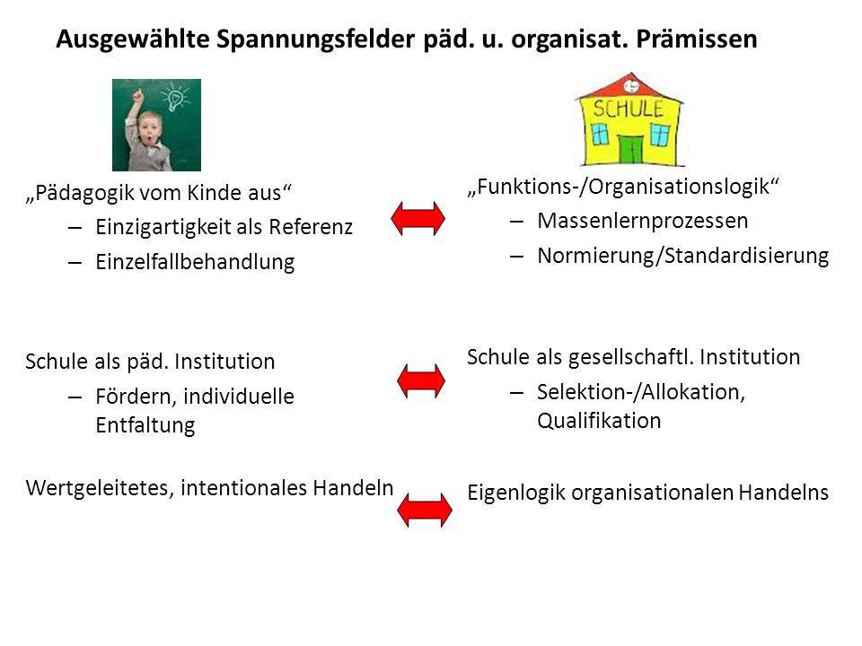 Ausgewählte Spannungsfelder päd. u. organisat. Prämissen