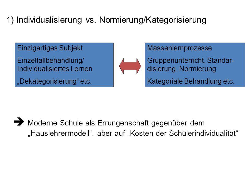 1) Individualisierung vs. Normierung/Kategorisierung