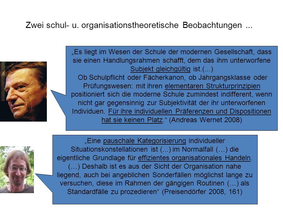 Zwei schul- u. organisationstheoretische Beobachtungen ...